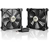 AC Infinity MULTIFAN S7, Quiet Dual 120mm USB Fan for Receiver DVR Playstation Xbox Computer Cabinet Cooling