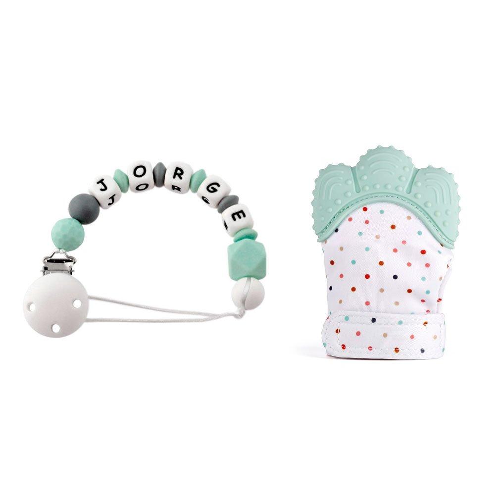 RUBY - Manopla mordedor silicona Bebé para dentición + Chupetero con Nombre personalizado para bebes de 3 a 12 Meses (Turquesa Pastel) Ruby Abalorios