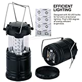 Camping Lantern Portable Outdoor Tent Lamp, Camping Gear Equipment for Hiking, Emergencies, Storms - 2 Pack, Black