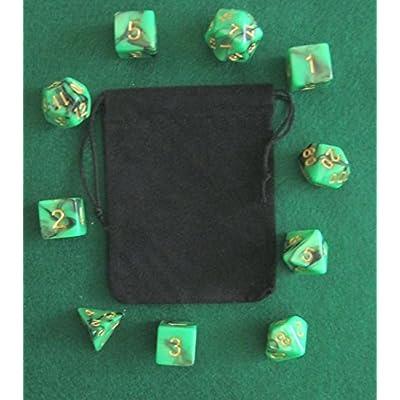 Night Elf (Green / Black) RPG D&D Dice Set: 7 + 3d6 = 10 polyhedral die plus bag! by Dave's Dice: Toys & Games