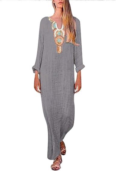 Holitie Vetements Robe Longue Pas Cher Femme Robe Vintage Femmes Maxi Imprimee Hiver A Manches Longues Robe De Soiree Amazon Fr Vetements Et Accessoires