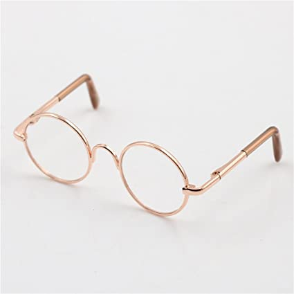 e5775a85f6 Image Unavailable. Image not available for. Color  Cute Round Frame  Eyeglasses Clear Lens Eyewear for 12 quot  Blythe Dolls Accessory