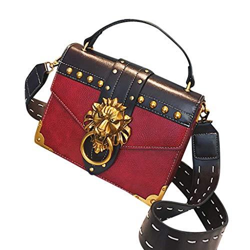 LiLiMeng Woman Fashion Metal Lion Head Shoulder Bag Mini Square Crossbody Bag Red