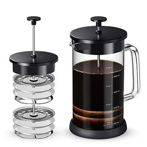 Soulhand French Press Coffee Maker Heat Resistant Glass Tea Maker with 4 Filter Screens Easy to Clean for Home, Office, Camping