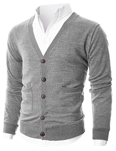 (OHOO Mens Slim Fit Ribbed Knit Cardigan with Pockets/DCC023-GREY-XL)