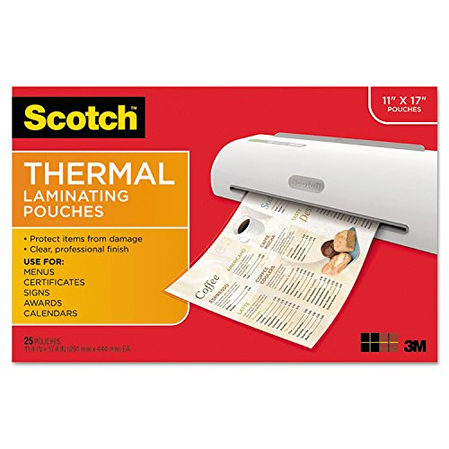 Scotch Thermal Laminating Pouches  11 45 X 17 48 Inches  25 Pouches  Tp3856 25