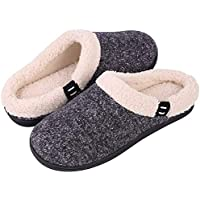 Women's & Men's Comfort Memory Foam Slippers Fuzzy Wool Plush Slip-on Clog House Shoes w/Indoor & Outdoor Sole