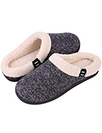 Women's Comfort Memory Foam Slippers Fuzzy Wool Plush Slip-On Clog House Shoes w/Indoor & Outdoor Sole