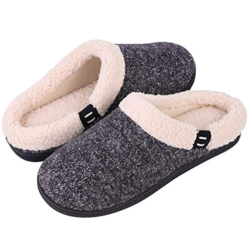 Women's Comfort Wool-Like Memory Foam Slippers Fuzzy Plush Slip-ons Clog House Shoes w/Indoor & Outdoor Sole (36-37 (US Women's 5-6), Black) (Average Shoe Size For 5 5 Woman)