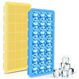 Silicone Ice Cube Trays 2 Pack with Lids, Easy Release and Flexible Rubber Ice Molds for Whisky, Cocktail, Bourbon and More - 21 Cubes Each with Cover, Stackable and BPA Free (Yellow and Blue)