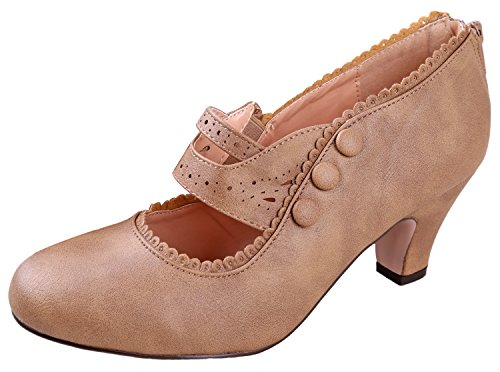 V-Luxury Womens 36-MINA4 Closed Toe Mary Jane High Heel Shoes Taupe 10