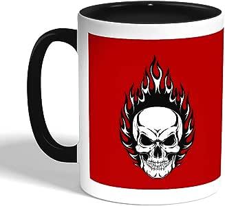 كوب سيراميك للقهوة بتصميم شكل الجمجمة ، اسود