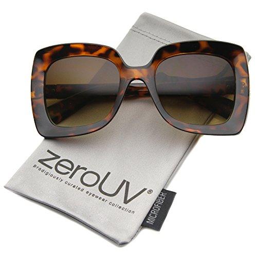 Glass Amber Tortoise Shiny (Oversize Chunky Frame Metal Accent Temple Square Sunglasses 53mm (Shiny Tortoise/Amber))
