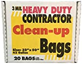 Heavy Duty Contractor Clean Up Trash Bags 42 Gallon - 20 Bags/Box