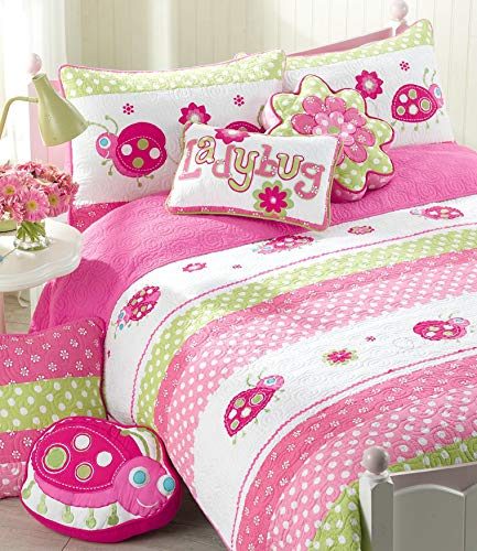 - Cozy Line Home Fashions 5-Piece Pink Ladybug Quilt Bedding Set, Green Fuchsia Flower Embroidered 100% Cotton Bedspread Coverlet (Twin - 5 Piece: 1 Quilt + 1 Standard Sham + 3 Decorative Pillows)