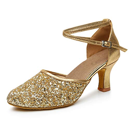 GetMine Womens Latin Dance Shoes Heeled Ballroom Salsa Tango Party Sequin Dance Shoes Gold 9]()