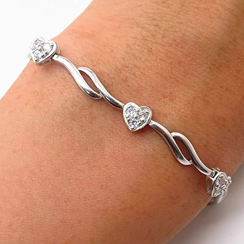 Ross Simons 925 Sterling Silver C Z Heart Design Curved Link Bracelet 7