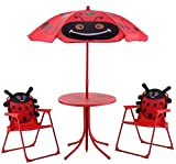 K&A Company Kids Patio Folding Table and Chairs Set Beetle with Umbrella New Outdoor Indoor Red