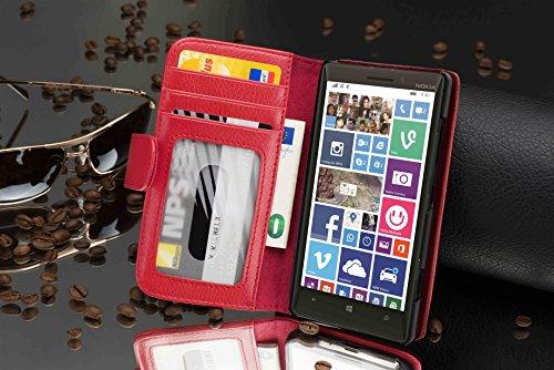 Cadorabo - Funda Nokia Lumia 930 / 929 Book Style de Cuero Sintético en Diseño Libro - Etui Case Cover Carcasa Caja Protección con Tarjetero en NEGRO-ÓXIDO INFERNO-ROT