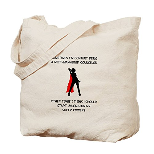 CafePress - Counseling Superheroine - Natural Canvas Tote Bag, Cloth Shopping Bag