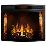 28 Inch Curved Ventless Electric Space Heater Built-in Recessed Firebox Fireplace Insert