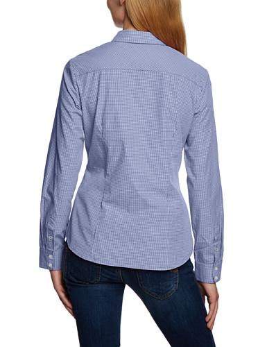 Maerz 103001 - Blusa de manga larga con cuello clásico para mujer Azul 356