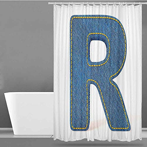 VIVIDX Travel Shower Curtain,Letter R,Retro Denim Style Alphabet Font Pattern with Capital R Letter Blue Jean Design,Metal Build,W60x72L Blue Yellow (Blue Jean Teddy Curtain)