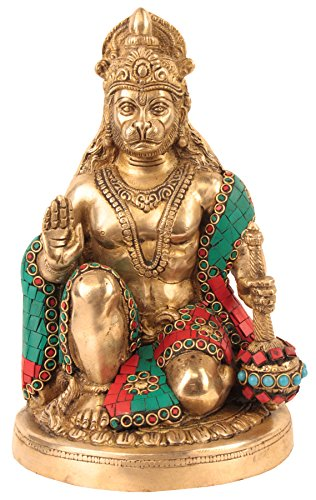 PR-3315-MB3068A Solid Brass Lord Hanuman / Maruthi /Anjaneya / Bajrangbali / Monkey god Statue Idol, Decorative Hindu Religious Gift and Home Decor from India (Height 9.5