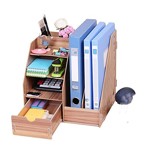 - Desktop A4 File Basket Data Storage Rack Wooden File Rack with Drawer/Pen Holder Organizer Office Organizer, 27.5×26×30cm,Brown