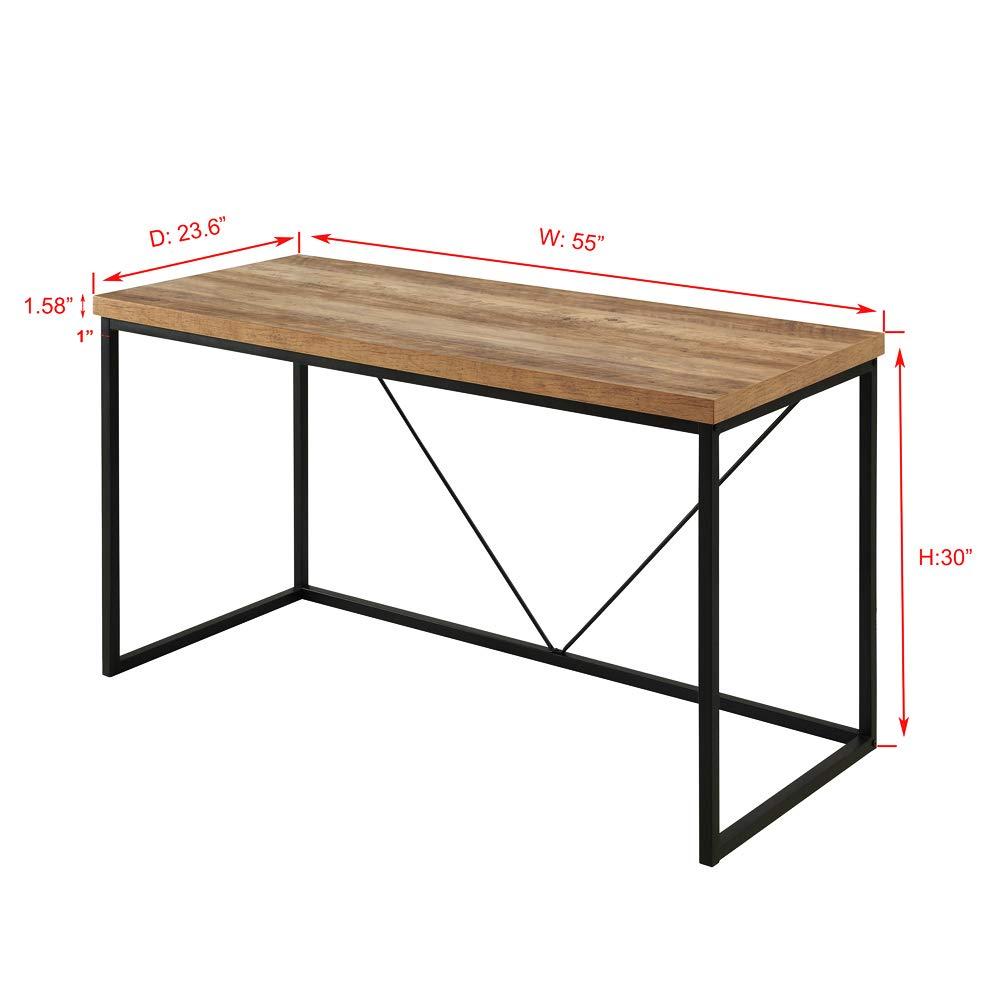FOLUBAN Rustic Industrial Computer Desk,Wood and Metal Writing Desk, Vintage PC Table for Home Office, Oak 55 inch by Foluban (Image #3)