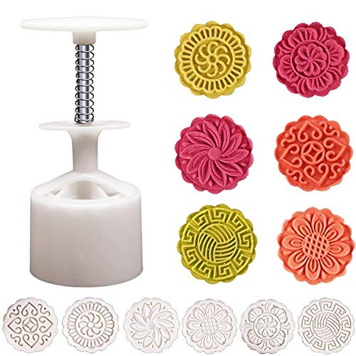 Transer 1 Set Round Moon Cake Molds With 6 Patterns Molds Hand Press Mooncake Baking Pastry Tools (75g - 6 ()