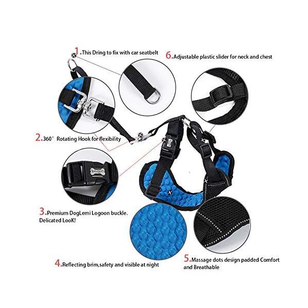 Dog Safety Vest Car Harness Seatbelt Set Adjustable Safety Mesh Harness Travel Strap Vest with Adjustable Seat Belt… Click on image for further info. 2