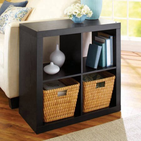 Better Homes and Gardens Square 4-Cube Organizer - MDF and Particle Board (Solid Black) - Mdf Office Bookcase