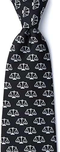 Scales Of Justice Black Black Microfiber Tie