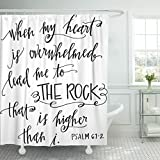 Breezat Shower Curtain Verse My Rock Bible Christian Quote Scripture Waterproof Polyester Fabric 60 x 72 Inches Set with Hooks