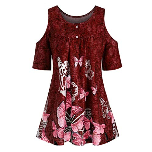 T Shirts Cold Shoulder Tops Basic Plus Size Fashion Women Butterfly Printed O-Neck Short Sleeve T-Shirt Tops (3XL,7- Red) -
