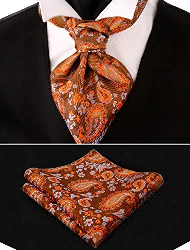 (Alizeal Men's Paisley Woven Self Cravat Tie Ascot and Pocket Square Set)