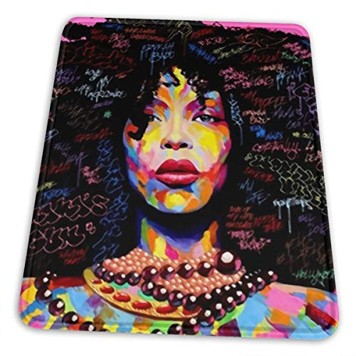 African Black Girl Rock Woman Art Gaming Mouse Pad Custom Mouse Mat Mouse Pads Decorative for Laptop PC Computers Keyboard 12 x 10 inch - Girl Art Mouse Pad