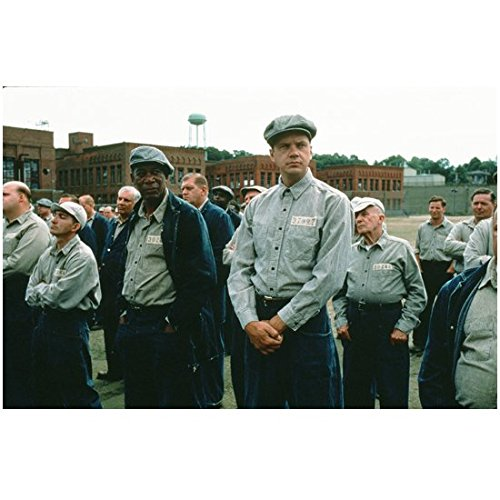 The Shawshank Redemption (1994) 8 Inch x10 Inch Photo Morgan Freeman & Tim Robbins Lined Up w/Other Inmates kn