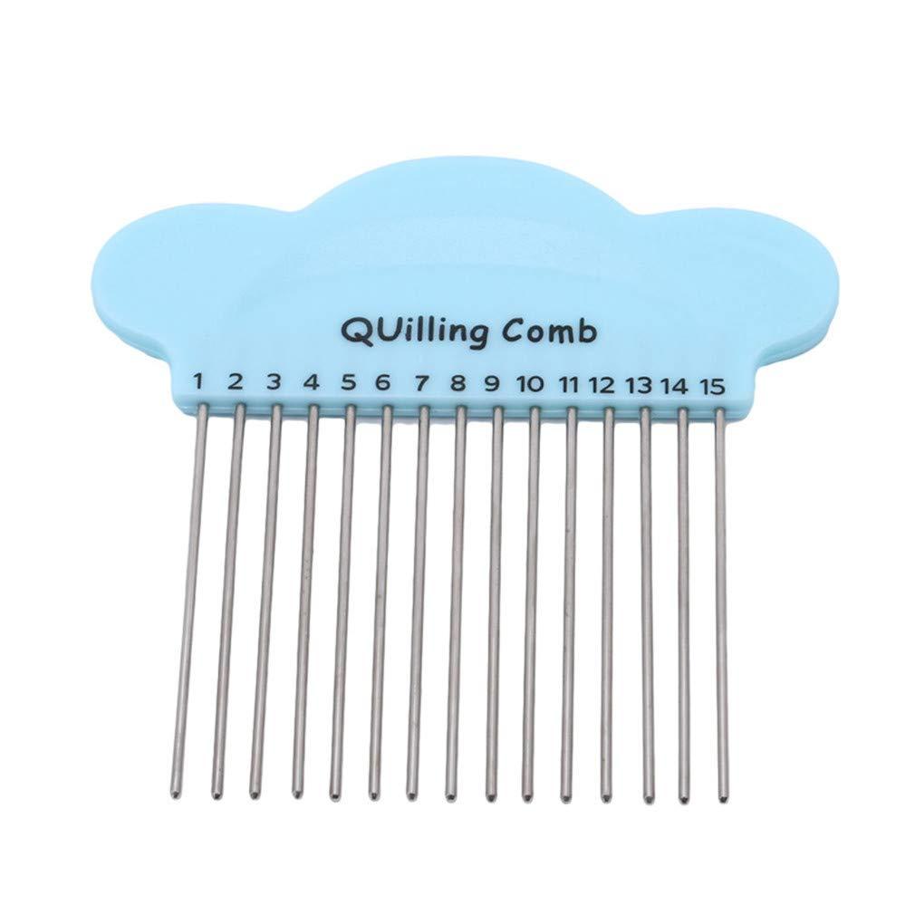 Jixing 1 Pcs Paper Quilling Comb Tool 15pins DIY Paper Craft Tool Creat Loops Accessory Supply,blue,L*W 10 10cm