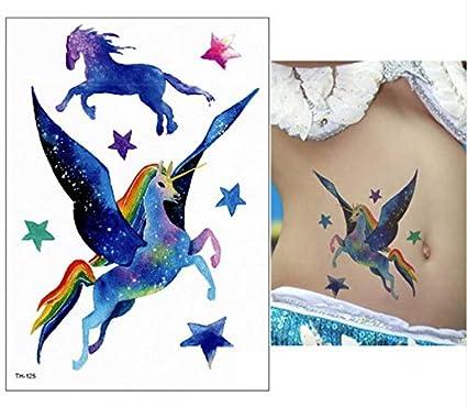 lijnjin Nueva Historieta Azul Unicornio Cuentos De Hadas Tatuaje ...