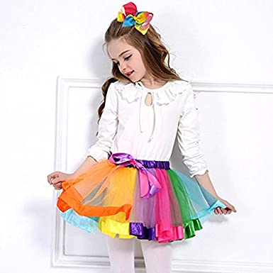 ALEAD Layered Ballet Tulle Rainbow Tutu Skirt for Little Girls Dress up with Colorful Hair Bows /…