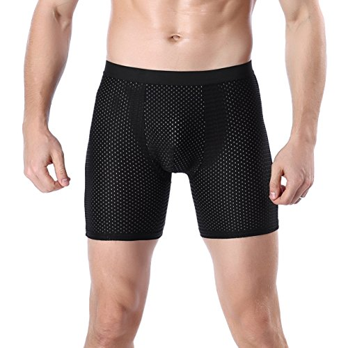 YuKaiChen Mens Mesh Breathable Boxer Briefs Cool Silk Underwear Pouch