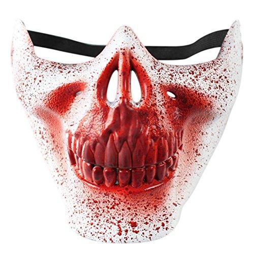 [QLAN Half Face Skull Mask Devil Mask Halloween(White)] (Devil Half Mask)