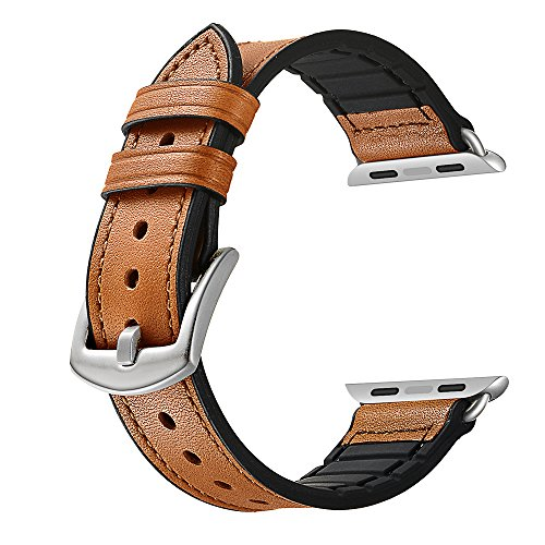 Sweatproof Hybrid Leather Sports Watch Band Vintage Replacement Bands for Apple Watch iwatch Series 123 Dark Brown Replacement Straps with Sliver Stainless Steel Buckle Clasp (42mm, Brown) by WTHSTRAP (Image #5)
