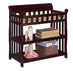 Premium Changing Table Baby Furniture Diaper Organizer in Espresso Delta Modern Solid Wood Design