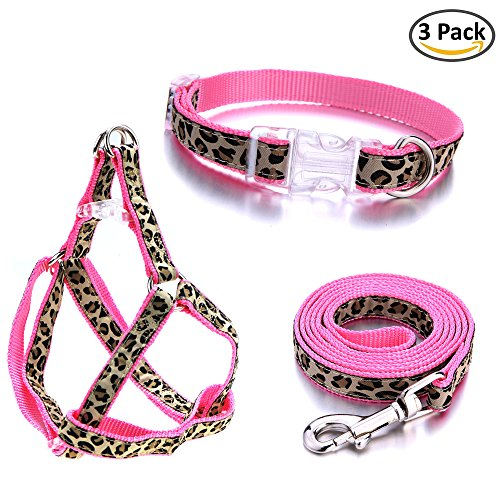 "Mile High Life Leopard Small Dog Collar Leash Harness Combo Set with Pink and Blue Colors (Pink,Small Neck 10""-14"")"