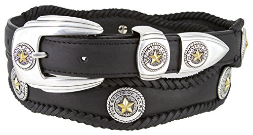 - Gold Star State of Texas Western Scallop Braided Leather Belt 1 3/8