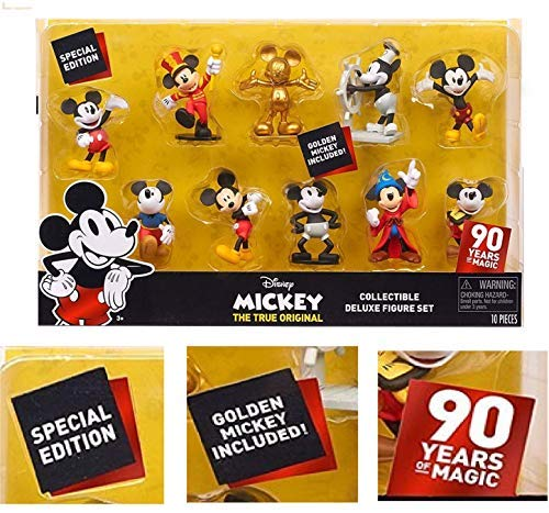 Special Edition 90 Years of Magic - DISNEY MICKEY THE TRUE ORIGINAL Collectible DELUXE Figure Set 10-Pack - Golden Mickey Included!