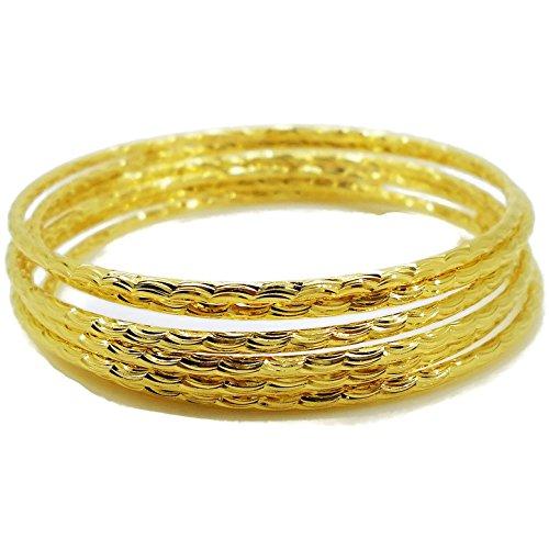 22k Yellow Gold Bangles (Set of 6 Multiple Bracelets Bangle 18k 22k 23k 24k Thai Baht Yellow Gold Plated 6 pcs/lots)